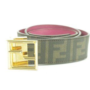 Fendi Reversible FF Zucca Belt Gold Fuchsia Brown